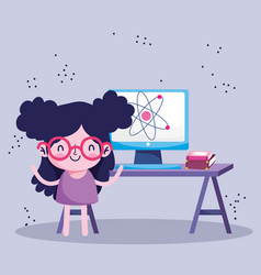 Education online student girl with computer and vector