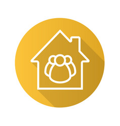 Family house flat linear long shadow icon vector