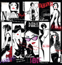 fashion collage with freehand drawings vector image