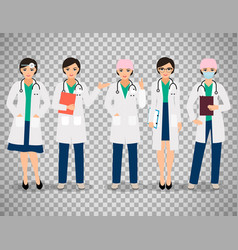 Female doctors on transparent background vector