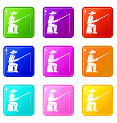 Fisherman with a fishing rod set 9 vector