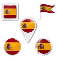 Flag spain with coat arms accurate vector