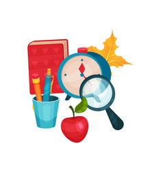 flat objects related to school theme vector image