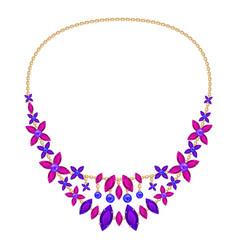 Flower gemstone necklace icon cartoon style vector