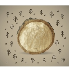 Forest and wood nature object with doodles vector
