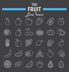 fruit line icon set food symbols collection vector image