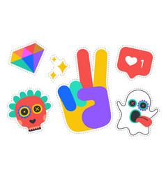 fun stickers colorful stickers design vector image