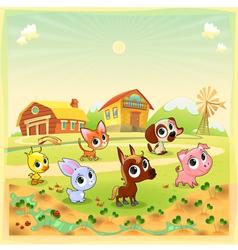 funny farm animals in garden vector image