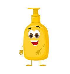 Funny liquid soap bottle modern flat vector