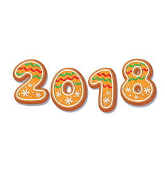 Gingerbread 2018 numbers cookie isolated vector