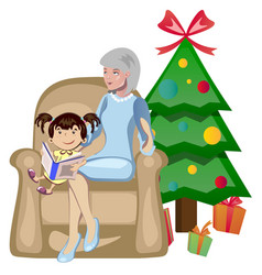 grandma and granddaughter christmas vector image