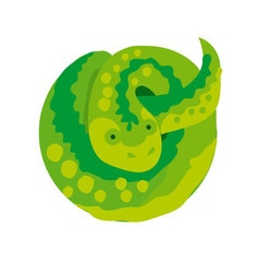 green snake in circle simple vector image
