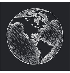 Hand drawing line icon globe outline drawing vector