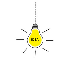 hanging light bulb icon idea text inside shining vector image