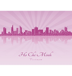 Ho Chi Minh skyline in purple radiant orchid vector image