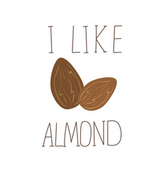 i like almond hand drawn icon design for vector image