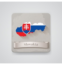Icon of Slovakia map with flag vector image