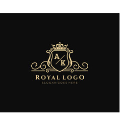 Initial ak letter luxurious brand logo template vector