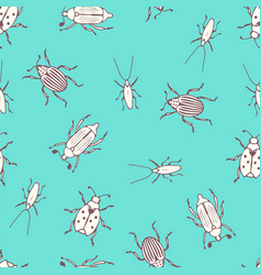 Insects and bugs seamless pattern vector