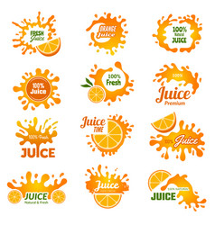 juice logo orange ink drop splashes advertising vector image