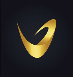 Letter v abstract gold logo vector