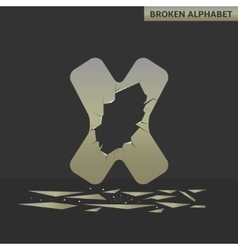Letter X Broken mirror vector