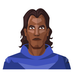man with a long black hair and blue hoody on vector image