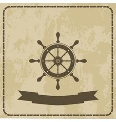 Marine helm steering wheel on grunge background vector