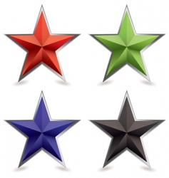 Metallic star icons vector