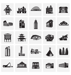 modern and ancient buildings set on squares white vector image