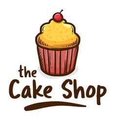 Muffin cake shop icon logo vector