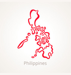 Outline map of philippines marked with red line vector