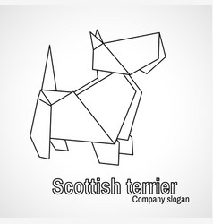 outline origami dog terrier vector image