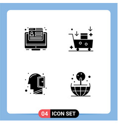 Pack 4 creative solid glyphs conversion vector