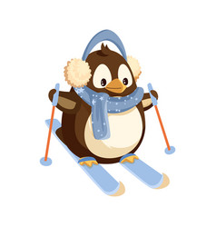 Penguin in earmuffs and scarf on skis with sticks vector