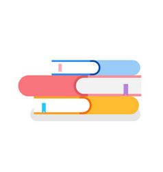 Pile books covers with bookmarks isolated icon vector