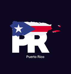 puerto rico initial letter country with map and vector image