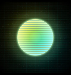 Retrowave style striped sun with yellow green and vector