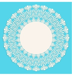 Round beige ornament frame on blue background vector