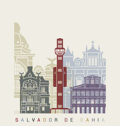 salvador de bahia v2 skyline poster vector image
