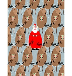 Santa Claus with reindeer seamless pattern vector image