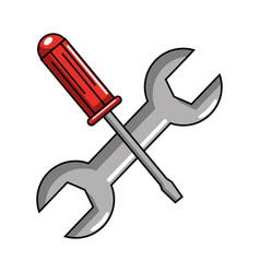 screwdriver and wrench tools vector image