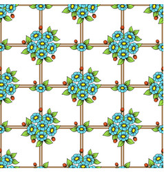 seamless color flowers lattice wallpaper vector image
