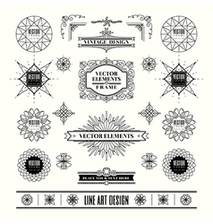 set art deco retro vintage frame badge vector image