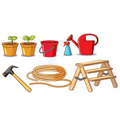 set isolated gardening tools vector image