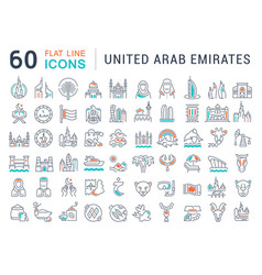 set line icons united arab emirates vector image
