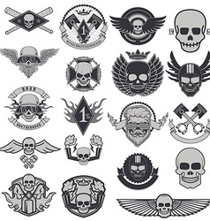 Set of biker labels and emblems vector
