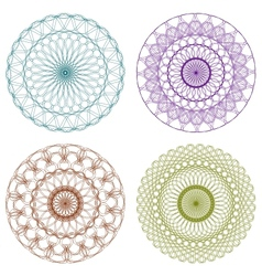 Set of Color Guilloche Rosettes vector