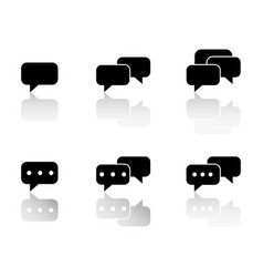 Set of communication sms with reflection icons vector