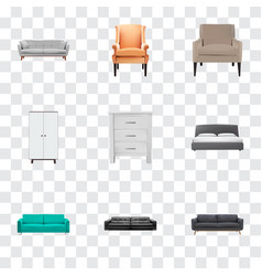 Set of decoration realistic symbols with settee vector